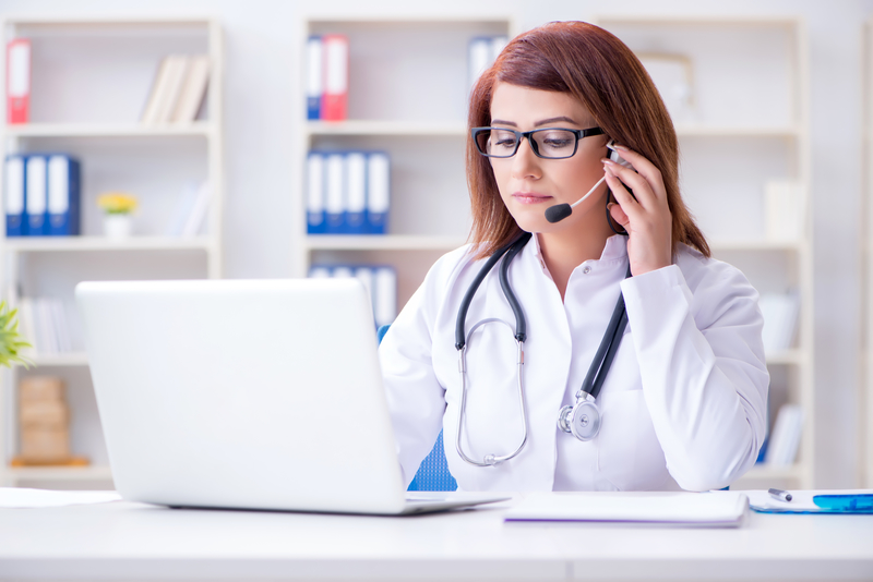 Blog 3 Telehealth Medicine Woman Doctor Lab Doctors Office Hospital Telephone Distance Healthcare